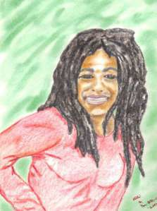 Janine Africa, as drawn by her husband Phil Africa.