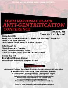 MWM 20 Detroit Gentrification Conference Flyer June 30 to July 2 2017 PNG